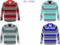 MENS LONG SLEEVE STRIPE POLO